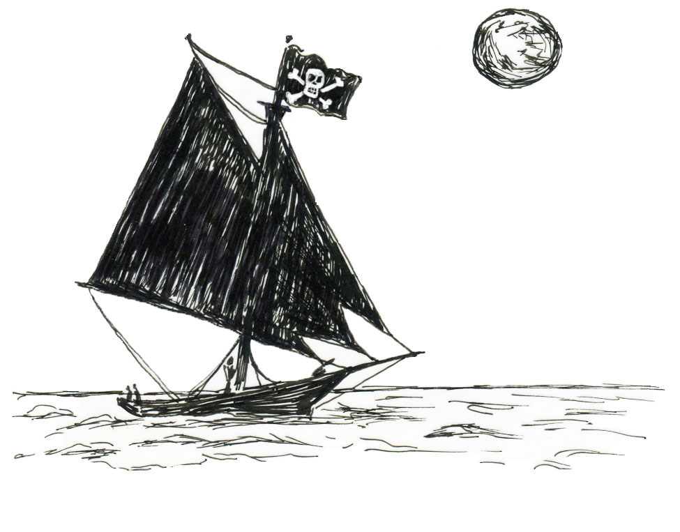 Sloop in the moonlight