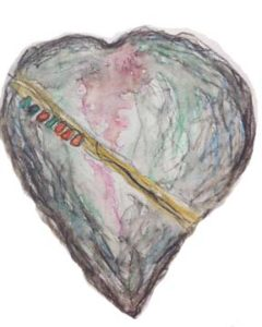 Watercolor of the stone heart fetish, J.L. Hotes